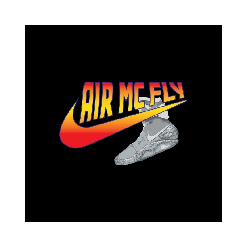 t shirt retour vers le futur parodie nike air mc fly noir. Black Bedroom Furniture Sets. Home Design Ideas
