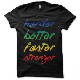 Shirt Daft Punk Harder Better Faster Stronger célèbre phrase noir pour homme et femme