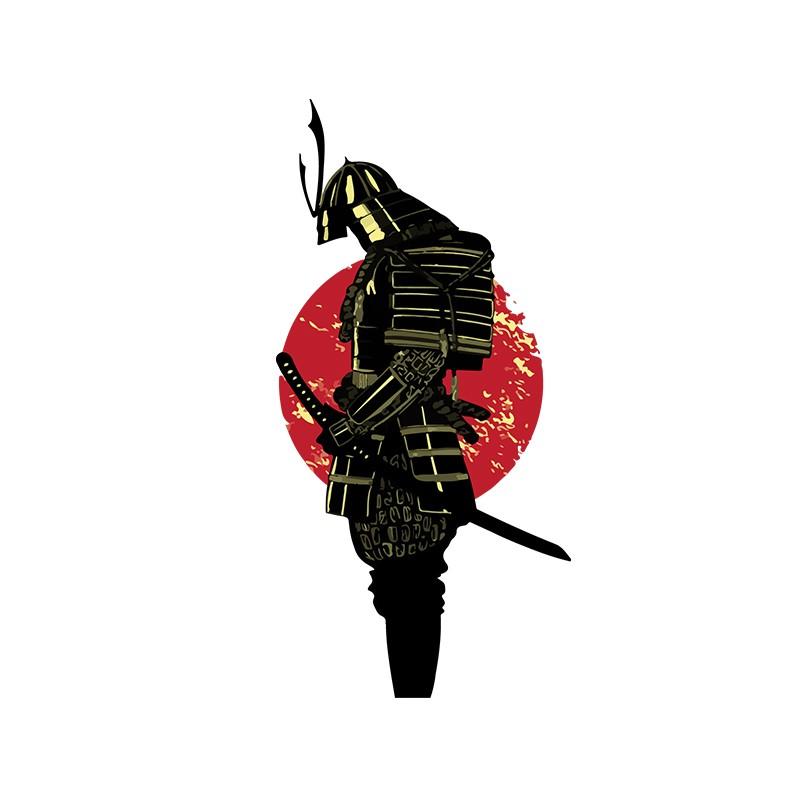 T Shirt Tatouage Samourai Avec Leve De Soleil Blanc