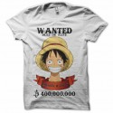 Shirt wanted luffy One piece blanc pour homme et femme