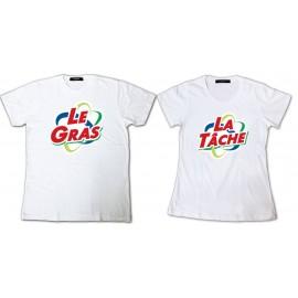 Shirt pour couple Les Nuls Le gras La tâche parodie Ariel - Pack homme et femme Blanc pour homme et femme