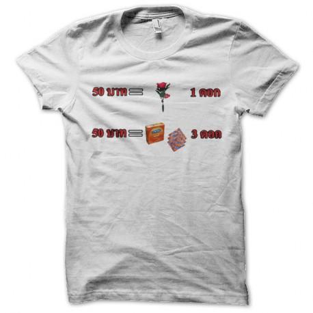 Shirt humoristique 1 rose égal 3 capotes blanc pour homme et femme