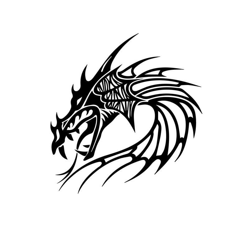 Motif Tatouage Noir Et Blanc: T-shirt Tatouage Dragon Noir En Blanc
