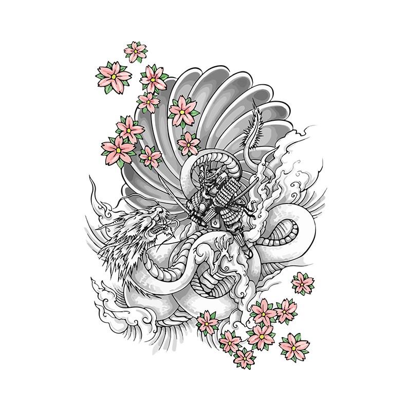 t-shirt tattoo samourai contre dragon avec des fleurs blanc
