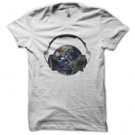 Shirt planète terre is my dj blanc pour homme et femme