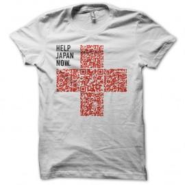 Shirt aidez le japon QR code blanc pour homme et femme