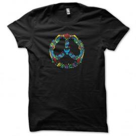 Shirt Paix dessin hippie noir pour homme et femme