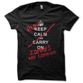 Shirt Keep Calm parodie zombies noir pour homme et femme