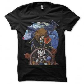 Shirt de fan Albator captain Harlock noir pour homme et femme
