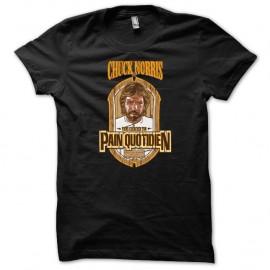 Shirt Chuck Norris viens chercher ton Pain quotidien noir pour homme et femme