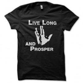 Shirt Star Trek Live Long and Prosper noir pour homme et femme