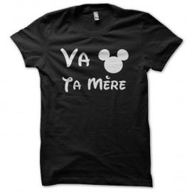 Shirt Va Mickey Ta Mère noir pour homme et femme