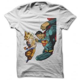 Shirt sangoku vs superman blanc pour homme et femme