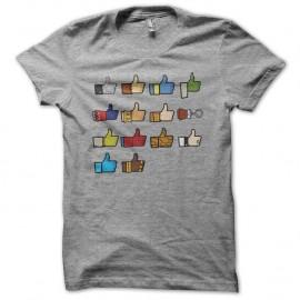 Shirt Like Facebook Wall of geek gris pour homme et femme