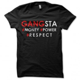 Shirt gangsta money power respect noir pour homme et femme