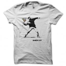 Shirt Banksy - Flower power blanc pour homme et femme