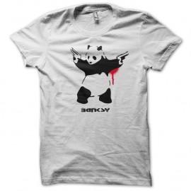 Shirt Banksy - panda shooting blanc pour homme et femme