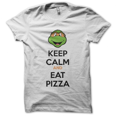 Shirt Keep calm and eat pizza tortues ninja blanc pour homme et femme