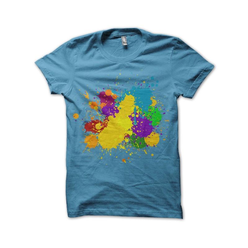 Multicolore Peinture Bleu Shirt De T Ciel Taches 8vmNnw0