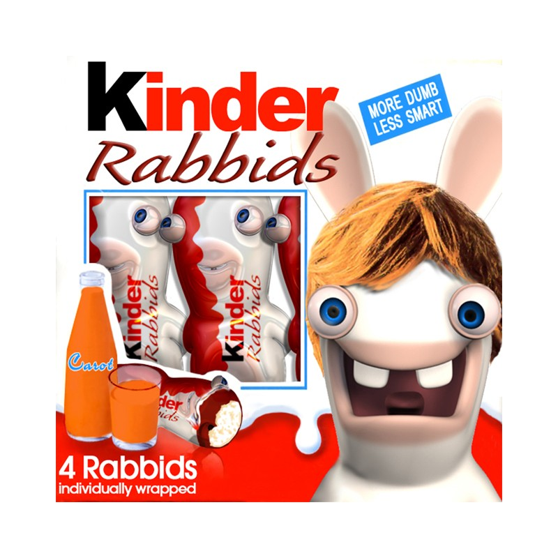 T shirt kinder rabbids parodie lapins cr tins blanc - Lapin cretin vampire ...