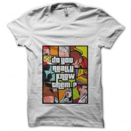Shirt Mario, Dark Vador, Albator parodie GTA blanc pour homme et femme