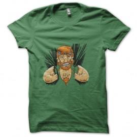 Shirt chuck norris énervé vert pour homme et femme