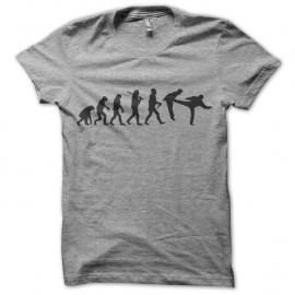 Shirt gris chuck norris evolution pied dans la gueule pour homme et femme