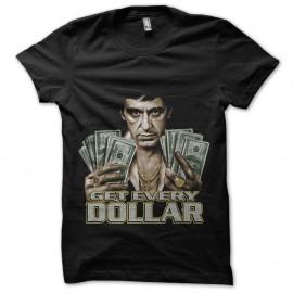 Shirt Scarface Tony Montana Get Every Dollar noir pour homme et femme
