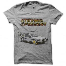 Shirt Delorean Stay in the present gris pour homme et femme