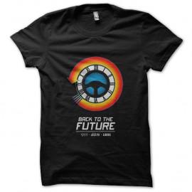 Shirt logo horloge retour vers le futur noir pour homme et femme