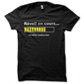 Shirt reveil en cours veuillez patienter noir pour homme et femme