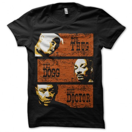 Shirt The Thug, The Dogg and the Doctor noir pour homme et femme