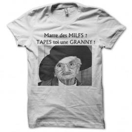 Shirt tapes toi une granny en blanc pour homme et femme