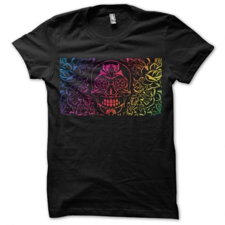 Shirt skull flower arc en ciel sur noir pour homme et femme