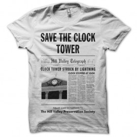 Shirt Save the clock tower journal blanc pour homme et femme