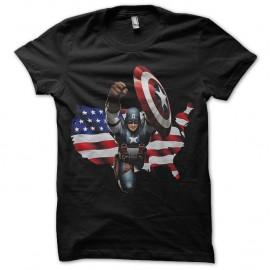 Shirt captain america avec drapeau americain noir pour homme et femme