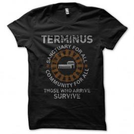 Shirt walking dead terminus noir pour homme et femme