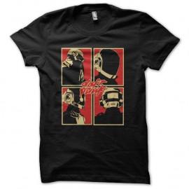Shirt daft punk logo pop art en noir pour homme et femme