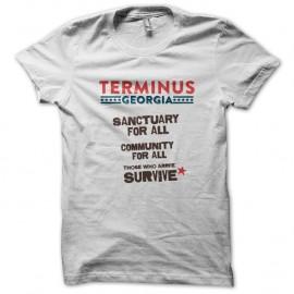 Shirt Walking Dead Terminus Sanctuary blanc pour homme et femme