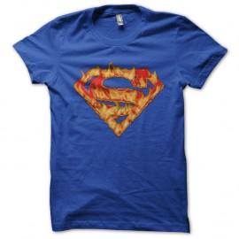 Shirt superman logo enflamme bleu pour homme et femme