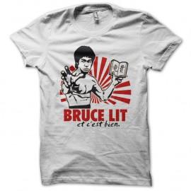 Shirt Bruce lit et c'est bien parodie Bruce Lee blanc pour homme et femme