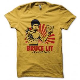 Shirt Bruce lit et c'est bien parodie Bruce Lee jaune pour homme et femme