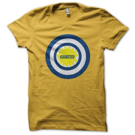 Shirt capitaine ricard parodie captain america jaune pour homme et femme