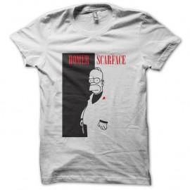 Shirt homer simpson parodie scarface blanc pour homme et femme