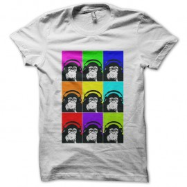Shirt monkey with headphones multicolor blanc pour homme et femme