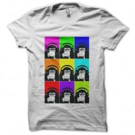 Shirt monkey with headphones multicolor blanc pour homme et femme