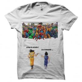 Shirt Sangoku et Vegeta Vs Marvel blanc pour homme et femme