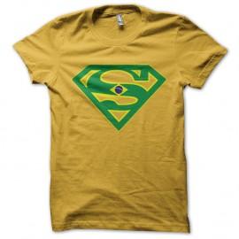 Shirt Super bresil parodie superman coupe du monde jaune pour homme et femme