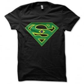 Shirt super bresil parodie superman special coupe du monde noir pour homme et femme