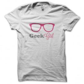 Shirt Geek Girl rose Blanc pour homme et femme